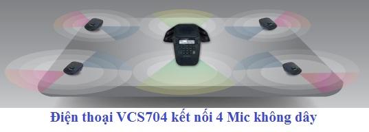 VCS704 kết nối Mic không dây